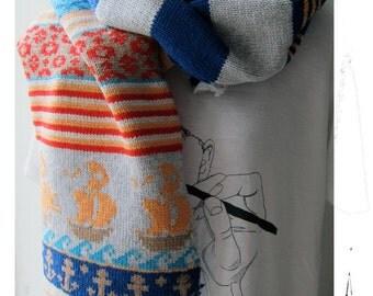Sailor knit Scarf  - Knit Mystique