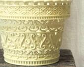 Vintage Plastic Flower Pot--Ornate Cut Work--Open Work--Ivory Color--Made in England