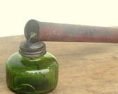 Vintage Hudson Sprayer with Original Green Glass Jar  Garden Rustic Farmhouse Antique