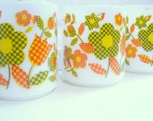 Vintage Lot of Eight Milk Glass Coffee Cups Mugs Bright Orange Yellow and Green Mod Flowers