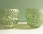Vintage Pair Mid Century Modern Atomic Spaghetti Splatter Rubber Coated Votive Candle Holders Juice Glasses Green with White Squigglies