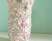 Vintage Shell Encrusted Vase Souvenir Pink Shabby Chic Cottage Ocean