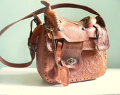 Vintage Tooled Leather Horse Saddle Purse Made in Mexico Unique Equestrian Bag