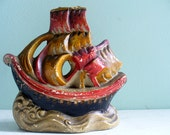 Vintage Ship Incense Burner Holder Chalkware Made in Japan