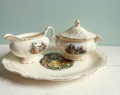 Vintage Homer Laughlin Virginia Rose Cream and Sugar and Plate Three Pieces