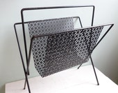 Vintage Magazine Rack Mid Century Modern Perforated Pierced Black Metal Eames Era