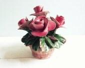 Vintage Capodimonte Italian Handmade Porcelain Roses Flowers in Basket Italy