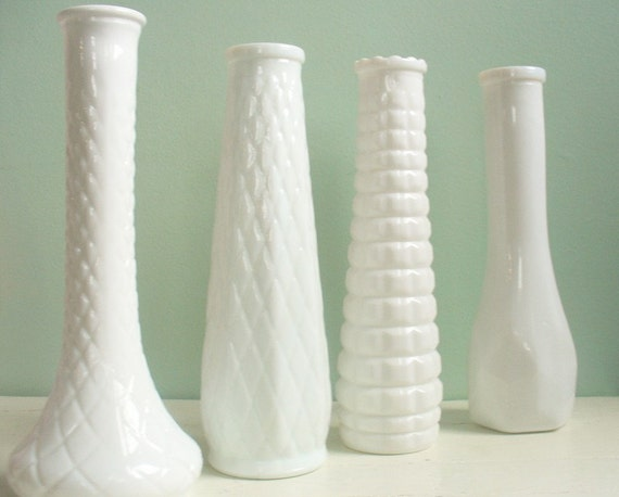Vintage Collection of Four Milk Glass Vases Three by EO Brody One by Hoosier Glass