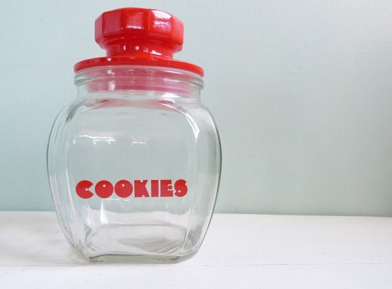 Vintage Red and Glass Cookie Jar Cherry Red Retro Font