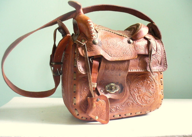 Vintage Tooled Leather Horse Saddle Purse Made in Mexico