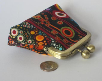 Amelia Black and Red Stripe coin clutch - made to order