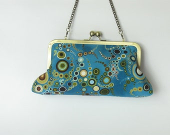 Amelia Blue Clutch - fabric by Amelia Caruso - made to order