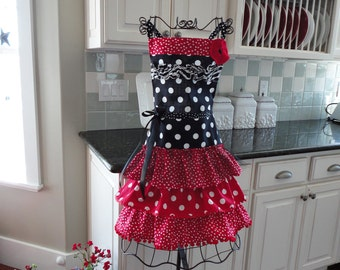 """Oh Happy Day ~  """"Sophia Style"""" Ruffled Womens Apron - Red Ruffles - 4RetroSisters"""