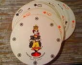Round Playing Cards vintage In original box VIKING IMPORTRADE For Gaming, Use As Coasters, Art Supplies Very Alice in Wonderland