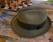 RESERVED for xenovious9 Genuine Stetson Fedora Hat Fur Felt Teardrop Top Olive Brown Dark Chocolate Ribbon Mad Men 1950s Film Noir Like New