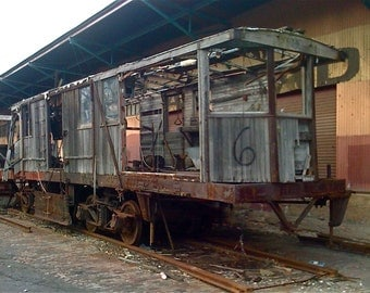 TRAIN WRECK Eerie Baltimore Urban Decay Flipping Gypsy Photography signed phipps y moran Railroad Track free mat Ready To Frame