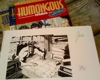 Humongous Man Comics Signed Art PLUS first 3 issues Jim Harrison Dan Stepp Superhero Parody Great Gift