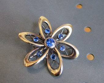 Symmetalic Modernist Brooch Midcentury Space Age Sterling 20 14K Austrian Sapphire Blue Rhinestones Judy Jetson Gorgeous Flower Orbits