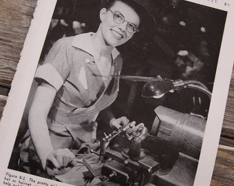 Fifties Factory Girl Photo 1955 Industrial Safety Manual Black and White Photographic Illustration Women in the Workplace