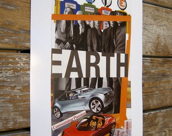 Collage Art Print SAVE EARTH Limited Edition signed phipps y moran Baltimore 11X17 Ready to Frame