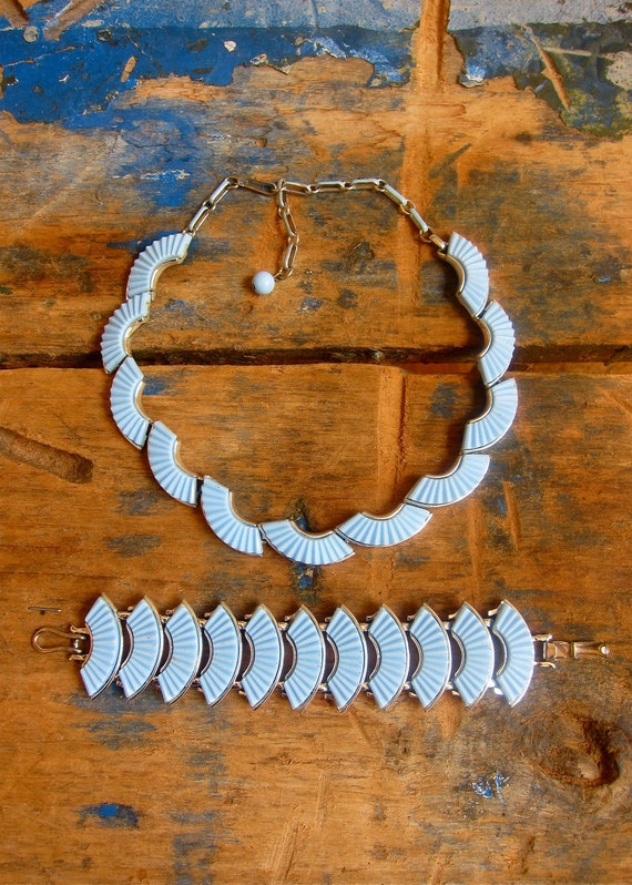 RESERVED Signed Coro Thermoset Necklace & Bracelet baby blue fans Demi Parure Set 1960s Vintage RARE free gift box