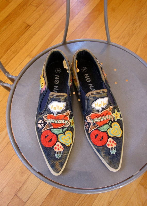 RESERVED for Wendy Applique Canvas Shoes Boho Hippie Seventies Motifs Dark Denim Blue Rubber Soles Deliberately Grungy Womens Size 36 US 5