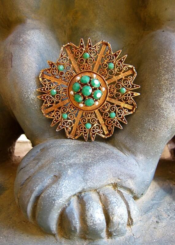 Filigree Crystals Brooch Pendant Intricate Embellished Middle Eastern Origin A Vintage Love Token free gift box