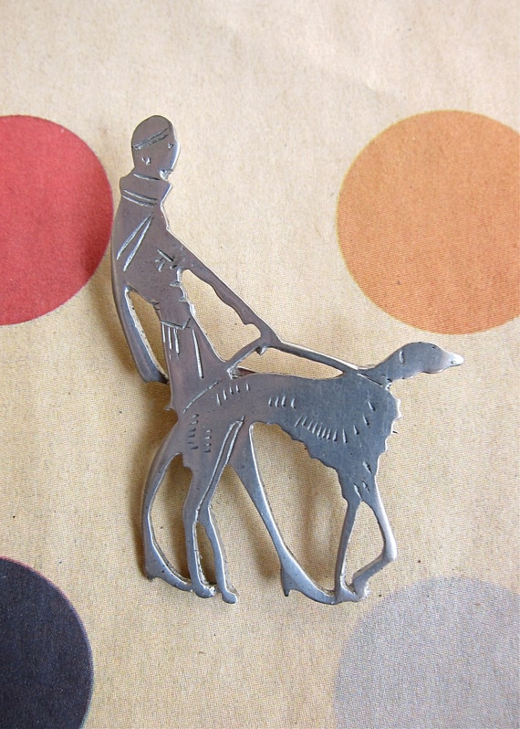 RESERVE for Phoebe Vogue Magazine Brooch Flapper & Greyhound Art Deco Subscription Gift Vintage 1930s Iconic Motif