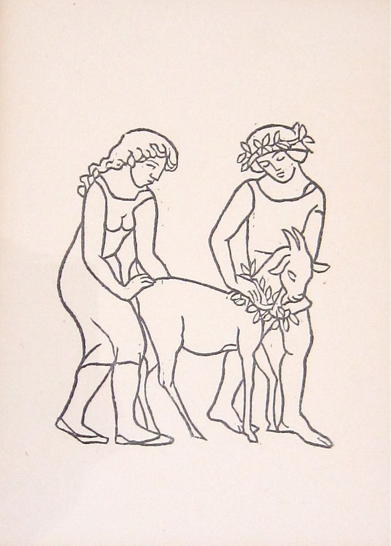 Maillol Framed Woodcut French Modernist Daphnis and Chloe Pagan Pastoral Mythology Hand Engraved on Handmade Laid Paper Rites of Spring
