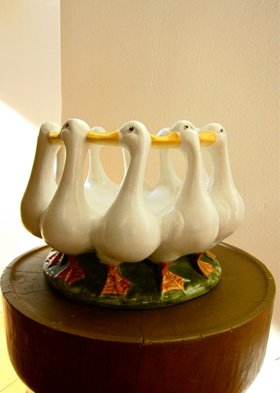 Circle of Geese by Bellini ITALY Iconic Vintage Hand Painted Ceramic Bowl Celebrate Season with Country Home Decor