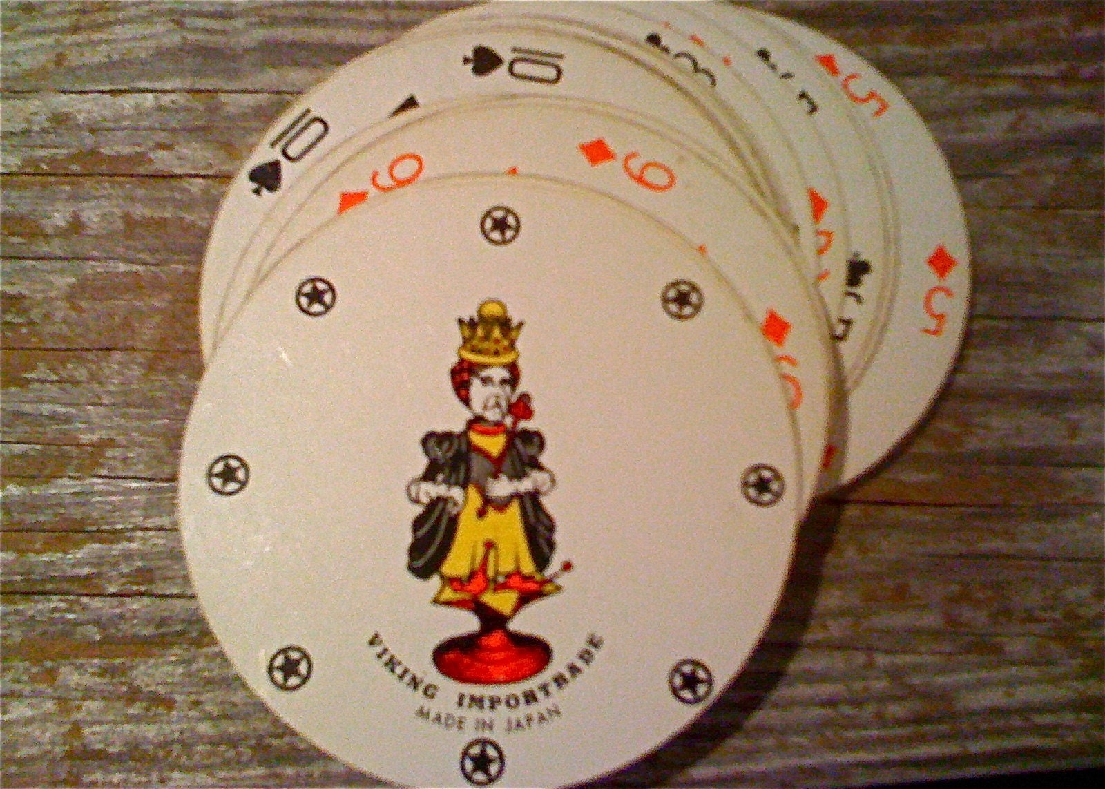 Round Playing Cards Vintage In Original Box By Tooartfulforyou