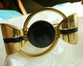 Black and Gold Mod Vintage Brooch