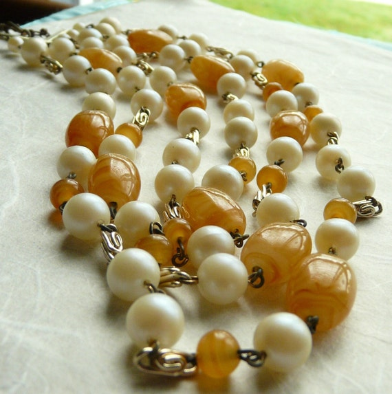 Triple Strand Glass Bead Necklace, Vintage