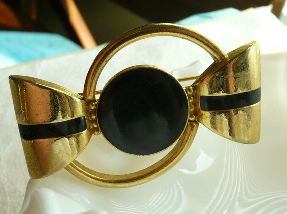 Black and Gold Mod Vintage Brooch
