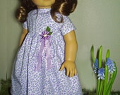 Lavender & Lilacs Summer Print Dress for Rebecca American Girl Dolls and Other 18 Inch Dolls