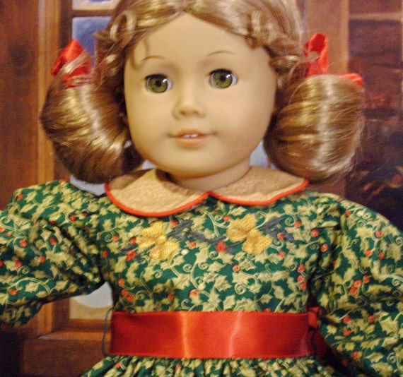 "Haul Out the Holly Holiday Dress for American Girl Molly, Kit and Other 18"" Dolls"