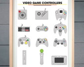 Video Game Controllers ART PRINT (various sizes available - 11x14 - 20x30 inches)