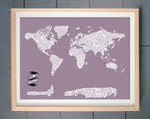 I Heart the World ART PRINT (World Map made with Hearts)  (various sizes available - 11x14 - 20x30 inches) (You pick the background color )