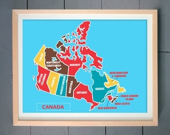 Canada Poster Wall Art Print, Canada Map, Canadian Anniversary, Flag of Canada, Canadian Map with multi-colored provinces, Canadian Flag