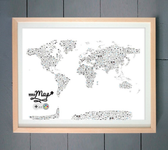 Video Game Controllers World Map ART PRINT (made with Video Game Controllers) (various sizes available)