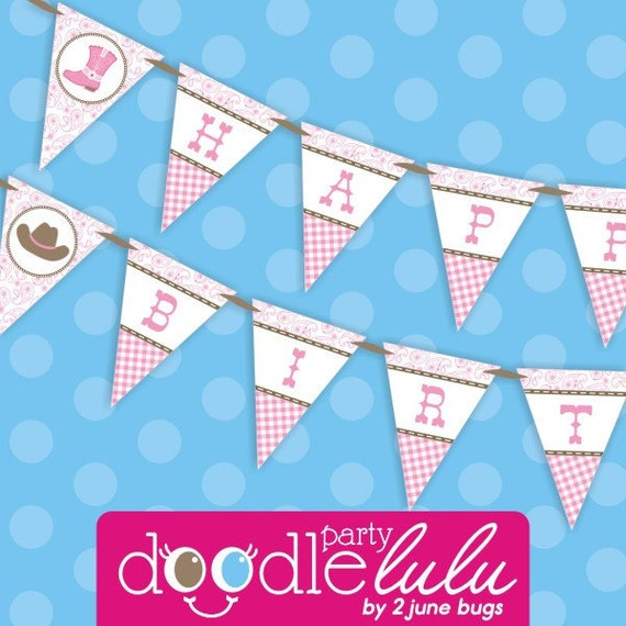 INSTANT DOWNLOAD DIY Printable Pink Paisley Cowgirl Party Happy Birthday Banner from Doodlulu by 2 june bugs
