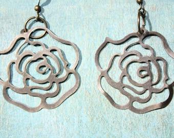 Antique bronze rose earrings