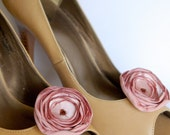 Bridal fabric flower shoe clips/Peach pink English tea rose/Romantic weddings - handmade by K.Person