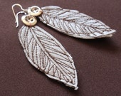 Sterling Silver and Vinyl Feather Earrings