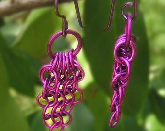 purple maille earrings, featherweight