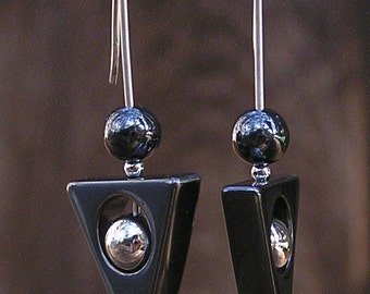 Silver and hematite arrowpoint earrings