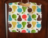 NEW Modern apples and pears chenille bib, reversible - READY TO SHIP