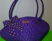 Personalized Embroidered Quilted Football Shaped Purple and Gold School Purse Bag