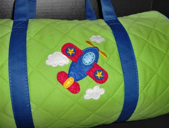 Personalized Stephen Joseph Airplane Childs Toddlers Duffel Travel Bag