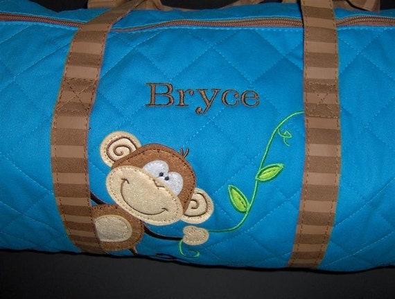 Monkey Duffle Bag-Custom Embroidered Personalized Designer Stephen Joseph MONKEY Vacation Duffle Travel Bag Easy Ordering
